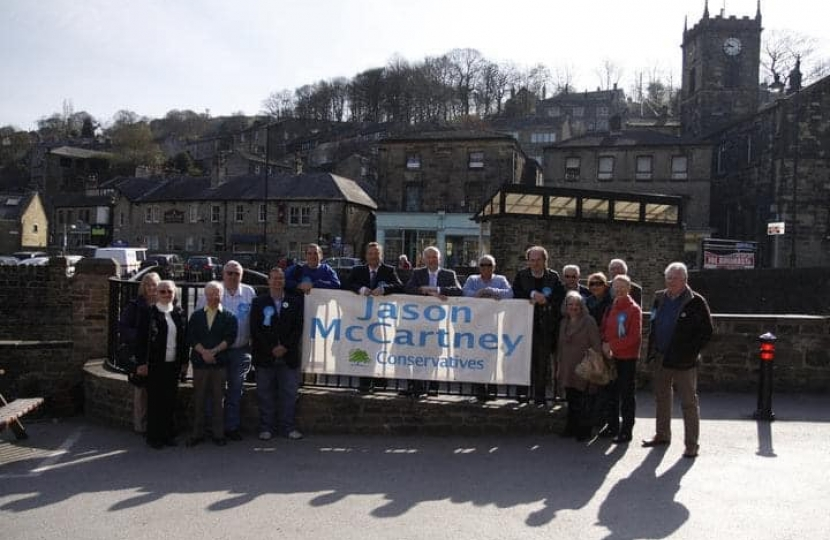 Jason and supporters in Holmfirth